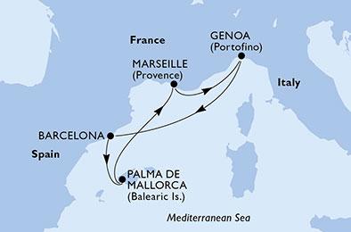 De Portofino l'élégante aux palais renaissance de Palma - CROISIÈRE AU DÉPART DE MARSEILLE (FRANCE) ,