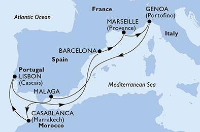 Espagne - Italie - Maroc - Portugal - Croisière des Côtes Espagnoles au Soleil de Lisbonne