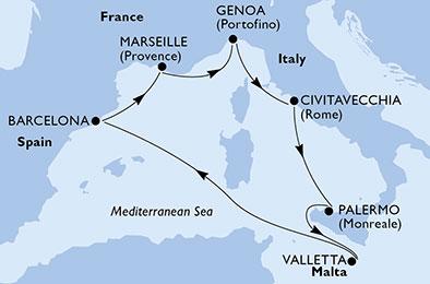 France - Espagne - Italie - Malte - Sicile - Croisière le Charme de Palerme & de Barcelone