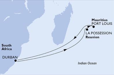 Afrique du Sud - Maurice - Réunion - Croisière les Eaux Tropicales de l'Océan Indien