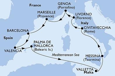 France - Côte d'Azur - Marseille - Baléares - Espagne - Italie - Malte - Sardaigne - Croisière de l'Espagne à l'Italie, Au Coeur de la Méditerranée