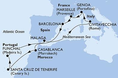 Canaries - Espagne - Italie - Madère - Ile de Madère - Maroc - Croisière de la Méditerranée aux Canaries