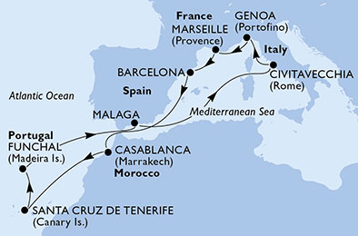 Canaries - Espagne - Italie - Madère - Maroc - Croisière de la Méditerranée aux Canaries