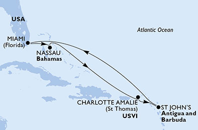 La mer turquoise des îles Vierges - CROISIÈRE AU DÉPART DE MIAMI (ETATS-UNIS) ;,